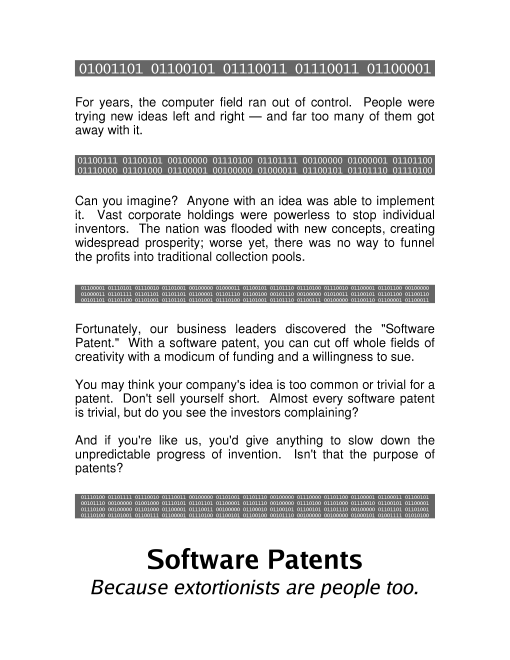 software patents - because extortionists are people 		too.